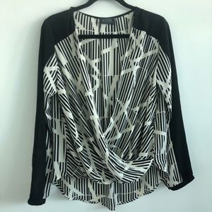 ASTR the Label | Faux-wrap blouse | Striped | L